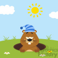cute marmot cartoon character with sleeping hat emerging from a hole in groundhog day vector flat design with background gif, png, jpg, eps, svg, pdf