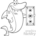 clipart black and white happy shark cartoon holding a dollar bill vector  gif, png, jpg, eps, svg, pdf