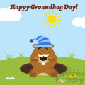 cute marmot cartoon character with sleeping hat emerging from a hole vector flat design with background and text happy groundhog day gif, png, jpg, eps, svg, pdf