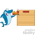 cute blue shark cartoon holding a platter with burger french fries and a soda to wooden blank board with text menu vector illustration gif, png, jpg, eps, svg, pdf