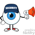 blue eyeball cartoon mascot character security guard using a megaphone vector  gif, png, jpg, eps, svg, pdf