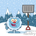 happy little yeti cartoon mascot character holding up a winter shovel vector over snow montains background gif, png, jpg, eps, svg, pdf