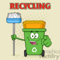 Open Green Recycle Bin Cartoon Mascot Character Holding A Broom And Pointing For Clining Vector With Halftone Background And Text Recycling