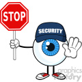 blue eyeball guy cartoon mascot character security guard gesturing and holding a stop sign vector  gif, png, jpg, eps, svg, pdf