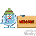 Cute Little Yeti Cartoon Mascot Character With Hat Pointing To A Welcome Wooden Sign Vector