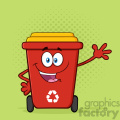 Happy Red Recycle Bin Cartoon Mascot Character Waving For Greeting Vector With Green Halftone Background