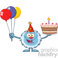 happy little yeti cartoon mascot character wearing a party hat and holding balloons and a birthday cake vector gif, png, jpg, eps, svg, pdf