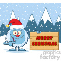 happy little yeti cartoon mascot character with santa hat pointing to a merry christmas wooden sign vector with snow montains background gif, png, jpg, eps, svg, pdf
