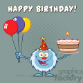 happy little yeti cartoon mascot character wearing a party hat and holding balloons and a birthday cake vector greeting card gif, png, jpg, eps, svg, pdf
