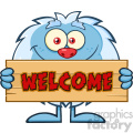 cute little yeti cartoon mascot character holding welcome wooden sign vector  gif, png, jpg, eps, svg, pdf