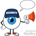 blue eyeball cartoon mascot character security guard using a megaphone with speech bubble vector  gif, png, jpg, eps, svg, pdf