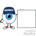 Blue Eyeball Cartoon Mascot Character Security Guard Pointing A Blank Sign Banner Vector