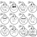 10835 Royalty Free RF Clipart Black And White Bomb Face Cartoon Mascot Character With Emoji Expressions Vector Illustration