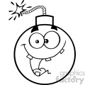 10813 Royalty Free RF Clipart Black And White Crazy Bomb Face Cartoon Mascot Character With Expressions Vector Illustration
