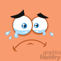 10858 Royalty Free RF Clipart Crying Cartoon Funny Face With Tears And Expression Vector With Orange Background