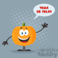 Happy Orange Pumpkin Vegetables Cartoon Emoji Character Waving For Greeting Vector Illustration Flat Design Style With Background Speech Bubble And Text Happy Halloween_1