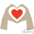 hands shaped like heart valentines vector icon