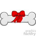 Royalty Free RF Clipart Illustration Dog Bone Cartoon Drawing With Ribbon And Bow Vector Illustration Isolated On White Background_1
