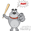 Angry Gray Bulldog Cartoon Mascot Character Holding A Bat And Pointing With Speech Bubble And Text Pay