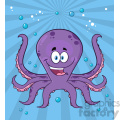 Royalty Free RF Clipart Illustration Happy Purple Octopus Cartoon Mascot Character Swimming Underwater Vector Illustration With Blue Background