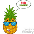 Smiling Pineapple Fruit With Green Leafs And Sunglasses Cartoon Mascot Character Design With Speech Bubble And Text Hello Summer