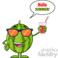 Green Watermelon Fresh Fruit Cartoon Mascot Character With Sunglasses Holding A Glass Of Juice Vector Hello Summer
