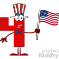 Patriotic Red Number Four Cartoon Mascot Character Wearing A USA Hat And Waving An American Flag