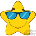 Royalty Free RF Clipart Illustration Smiling Yellow Star Cartoon Emoji Face Character With Sunglasses Vector Illustration Isolated On White Background