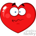 Worried Red Heart Cartoon Emoji Face Character With Confused Expression Vector Illustration Isolated On White Background