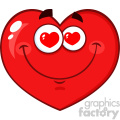 Infatuated Red Heart Cartoon Emoji Face Character With Hearts Eyes Vector Illustration Isolated On White Background
