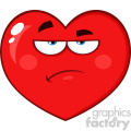 Annoyed Red Heart Cartoon Emoji Face Character With Grumpy Expression Vector Illustration Isolated On White Background