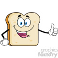 Happy Bread Slice Cartoon Mascot Character Giving A Thumb Up Vector Illustration Isolated On White Background