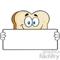 Bread Slice Cartoon Mascot Character Holding A Blank Sign Vector Illustration With Isolated On White Background
