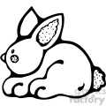cartoon clipart bunny 005 bw