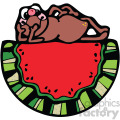 watermelon with frog cartoon