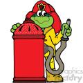 fire fighting frog cartoon vector art