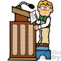 child reading at a podium clipart