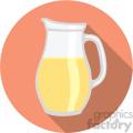 lemonade pitcher on orange circle background flat icons