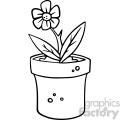 cartoon flower pot bottle black white vector clipart