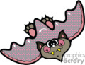 Cartoon flying bat with pink and gray wings