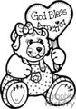 Black and white cute cartoon bear holding a Gob Bless America sign