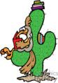 reading roadrunner sitting on cactus gif, eps