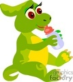 green baby dinosaur with a bottle