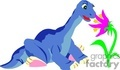 Blue dinosaur smelling flowers