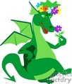 green dragon with colorful flowers
