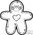 happy black and white gingerbread man with a heart gif, eps