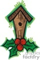 single hole bird house decorated with holly berry gif, jpg