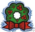 Green Holly Berry Wreath with a Big Red Bow