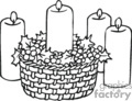 Black and White Candle Basket Surrounded by Holly