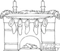 black and white fireplace with mantel holding christmas stockings  gif